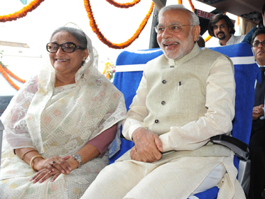 A file photo of Sheikh Hasina with Narendra Modi. AFP