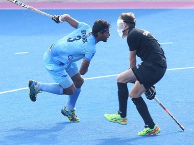 India's Rupinder Singh in action against New Zealand. Image courtesy: Twitter/Hockey India