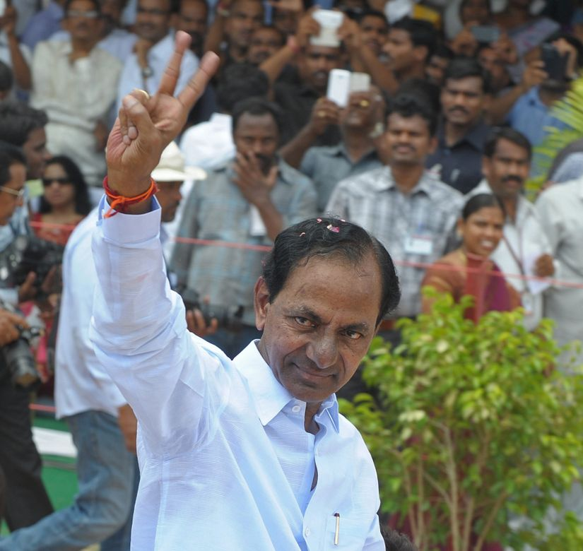 Chief Minister K. Chandrasekhar Rao gestures to supporters. AFP