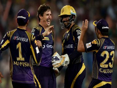 KKR Bowler Brad Hogg celebrates with his team mates. PTI