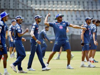 Mumbai Indians' players during a practice session. PTI