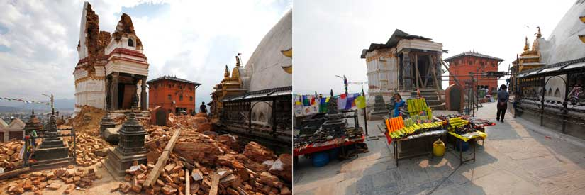 A statue of a Buddhist deity from a monastery around the famous Swayambhunath Stupa in 2015 (left) and in 2016 (right). AP