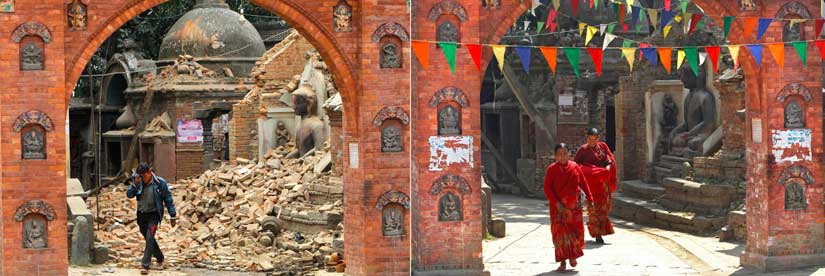 In this combination of two photos, on left a Nepalese man walks past debris caused by an earthquake in Bhaktapur, near Kathmandu in April, 2015, as on the right Nepalese women walk by the same place after it was cleared of debris in February 2016. AP