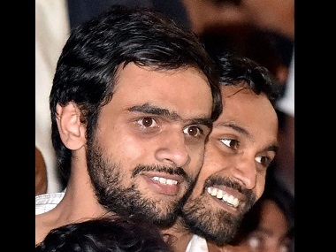 JNU students Umar Khalid (left) and Anirban Bhattacharya at JNU campus. PTI