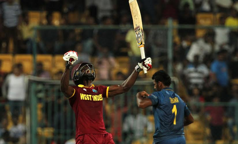 Andre Fletcher reacts after hitting the winning runs for West Indies against Sri Lanka. Solaris Images