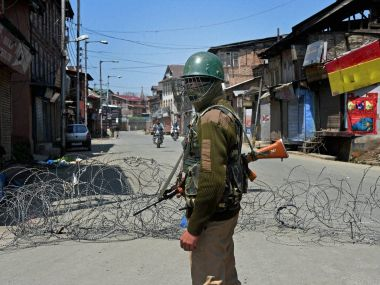 Security personnel in Handwara. File photo. PTI