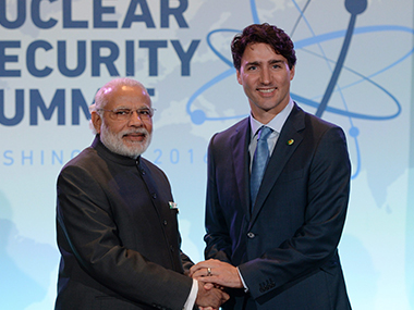 Prime Minister Narendra Modi with Canadian PM Justin Trudeau at the Nuclear Security Summit. AP