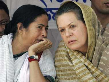 File photo of Mamata Banerjee and Sonia Gandhi. AFP