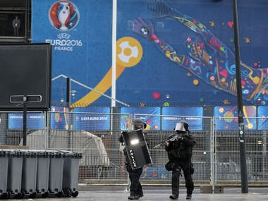 French police takes part in a terror attack mock exercise outside Stade de France in Paris. AFP