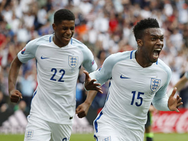 England's Daniel Sturridge celebrates scoring their second goal against Wales. Reuters
