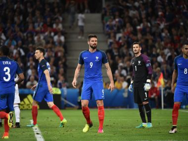 France's Patrice Evra,  Laurent Koscielny, Olivier Giroud, Hugo Lloris and Dimitri Payet look on during the Euro 2016 match. AFP