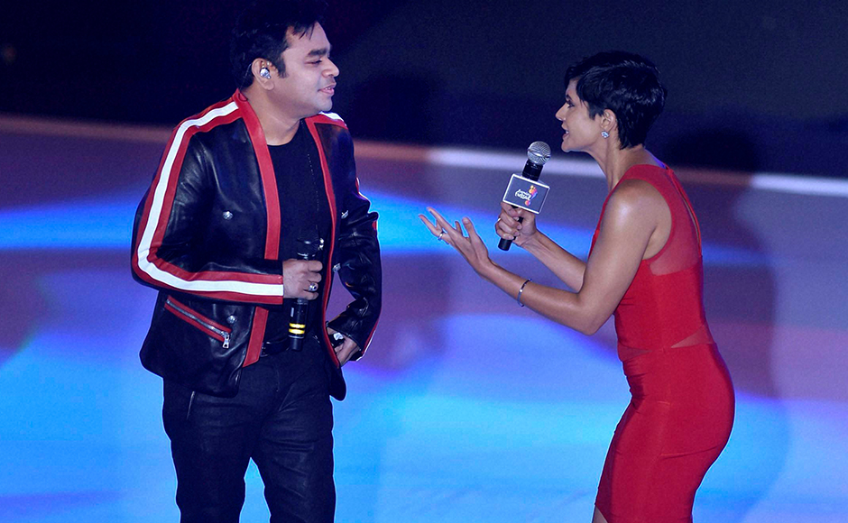 Music composer AR Rahman and television personality Mandira Bedi during the inaugural session of Premier Futsal in Chennai. PTI
