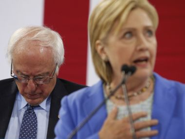 File image of Hillary Clinton (right) and Bernie Sanders (left). AP