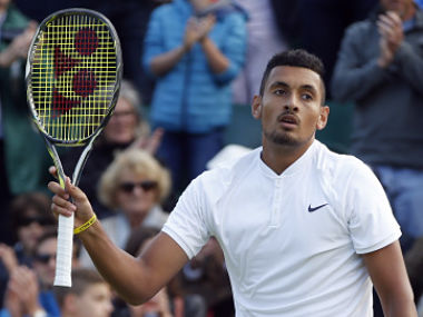 Nick Kyrgios of Australia against German Dustin Brown in Wimbledon 2016. AP