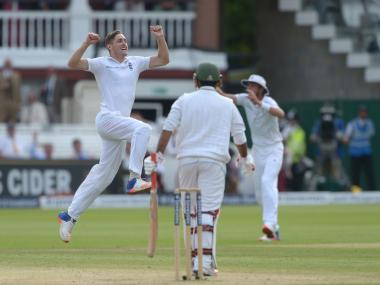 Chris Woakes celebrates taking a wicket on Day 3. AP