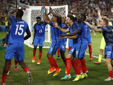 France players celebrate at the end of the match. Reuters