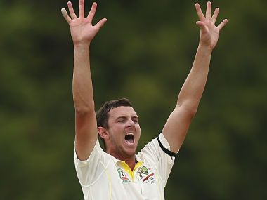 ROSEAU, DOMINICA - JUNE 05: Josh Hazlewood of Australia appeals for a wicket during day three of the First Test match between Australia and the West Indies at Windsor Park on June 5, 2015 in Roseau, Dominica. (Photo by Ryan Pierse/Getty Images)