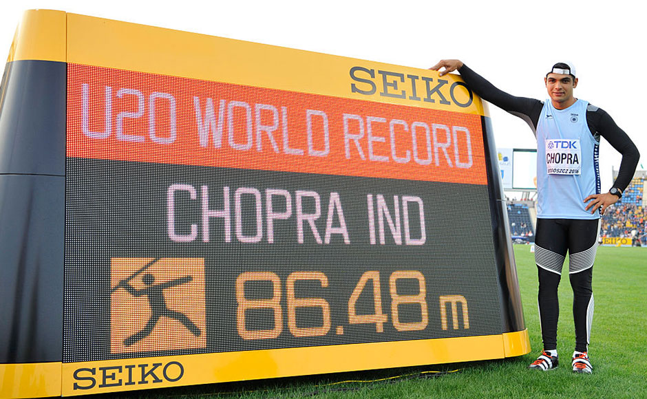 Neeraj Chopra from India competes in men's javelin throw during the IAAF World U-20 Championships at the Zawisza Stadium on July 23, 2016 in Bydgoszcz, Poland. Getty