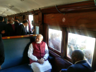 PM Modi travelled in a train from Pentrich railway station to Pietermaritzburg. Image courtesy: @PMOIndia/Twitter