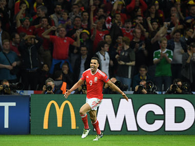 Hal Robson-Kanu of Wales celebrates scoring Wales' second goal. Getty