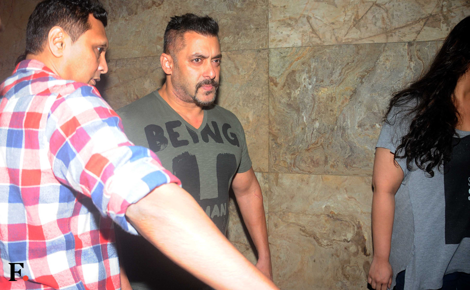 A day before his Eid release 'Sultan' opened in theatres, Salman Khan hosted a special screening of the film for his family and close friends at a suburban lounge in Mumbai. Image by Sachin Gokhale/Firstpost
