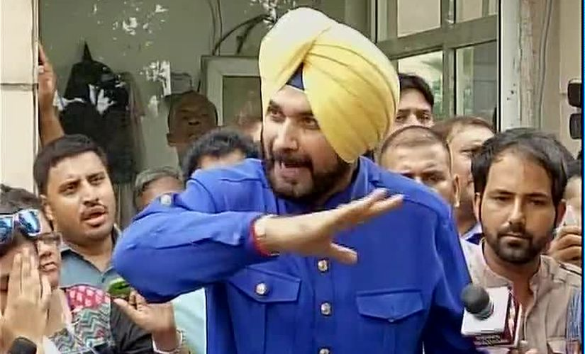 Navjot Singh Sidhu addresses media on why he quit Rajya Sabha. Image courtesy: @ANI_news