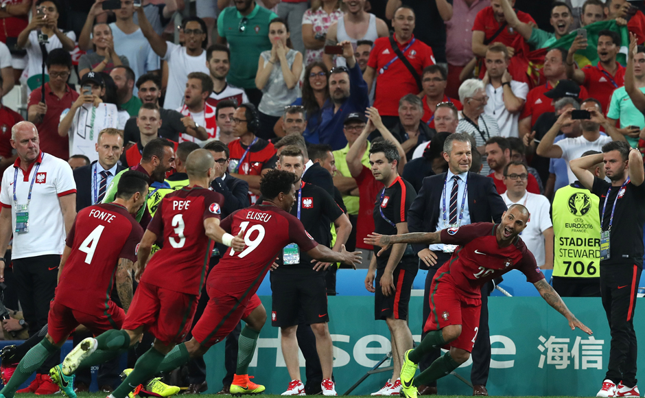 Portugal players celebrate as Ricardo Quaresma scores the winning penalty in the Euro 2016 quarterfinal against Poland. AP