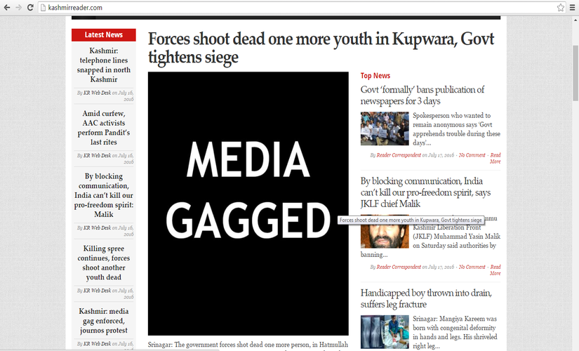 Kashmir reader's response to the raid on press offices. Screengrab