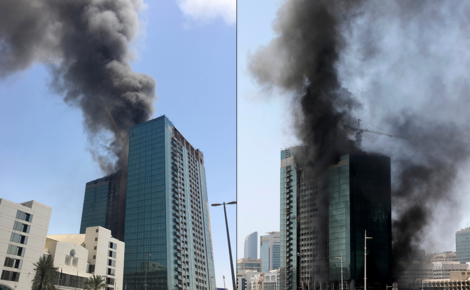 Fire swept through the 28-storey skyscraper under construction at Al Maryah Island in Abu Dhabithe on Tuesday. The fire is the latest in a series of at least five blazes to hit tall buildings in the United Arab Emirates over the last 18 months. Reuters