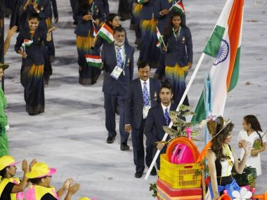 The Indian contingent at the Rio Olympic opening ceremony. Reuters