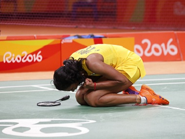 PV Sindhu celebrates after beating China's Wang Yihan. AP