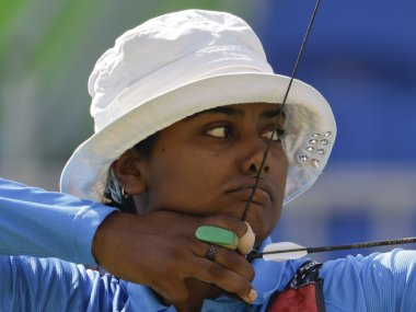 Deepika Kumari aims for the target during the women's team archery event at Rio 2016. AP