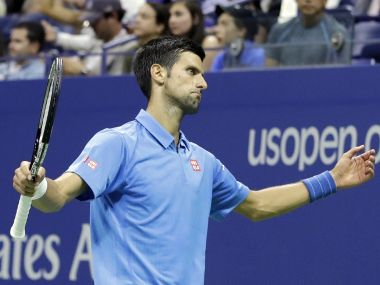 Novak Djokovic reacts after a point in the US Open. AP