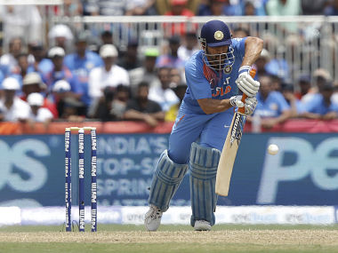 India's MS Dhoni bats during the first Twenty20 match against West Indies. AP