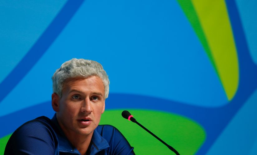 Ryan Lochte during a press conference. Getty