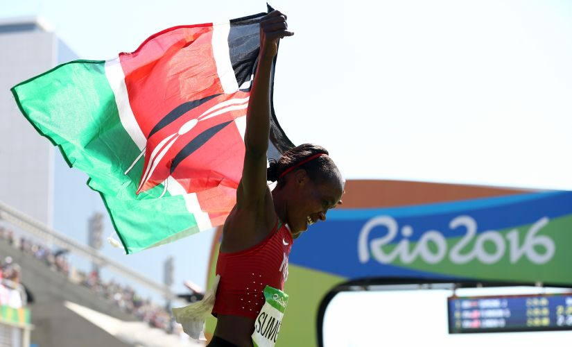 Jemima Jelagat Sumgong celebrates after winning the gold medal. Getty