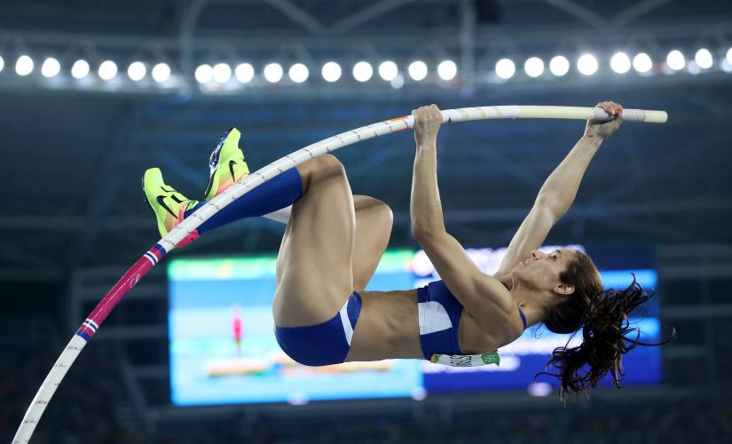 Ekaterini Stefanidi competes in the Women's Pole Vault Final. Getty