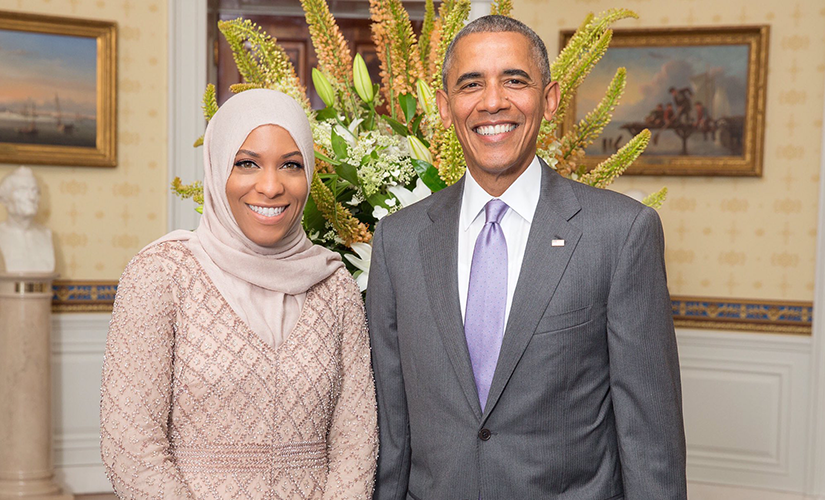 President Obama gave Muhammad a shout-out and told her to bring back the gold when she was in the audience during his visit to a Baltimore mosque this winter. Photo: Twitter/Ibtihaj Muhammad