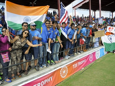 India supporters cheer their team during the second T20I against West Indies in Florida. AFP