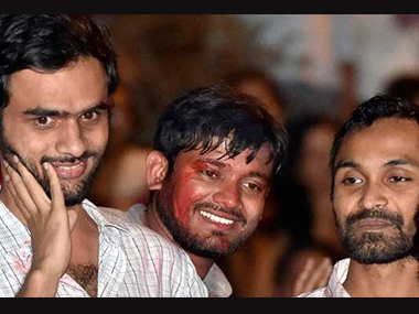 File image of Kanhaiya Kumar, Anirban Bhattacharya and Umar Khalid. PTI