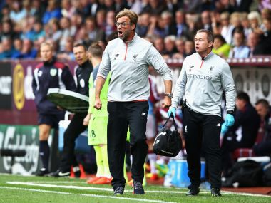 Jurgen Klopp shouting at his player during the Liverpool vs Burnley game. Getty