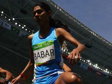 Lalita Babar during the women's 3000m steeplechase final. Getty Images