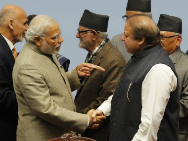 File image of Prime Minister Narendra Modi with his Pakistani counterpart Nawaz Sharif at the previous 2014 Saarc Summit. AFP