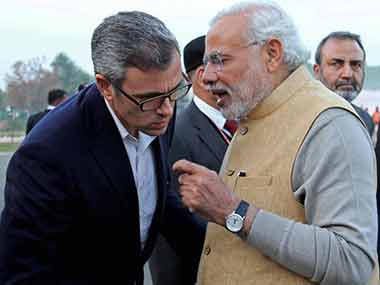 A file photo of Omar Abdullah with Prime Minister Narendra Modi. PTI