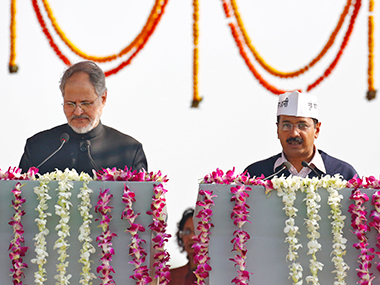 File image of Najeeb Jung and Arvind Kejriwal. Reuters
