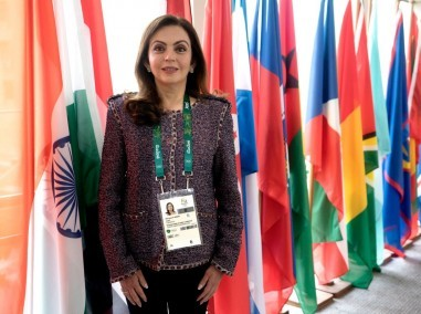 Nita Ambani after being elected as a memeber of IOC in Rio. Image courtesy: Reliance Industry
