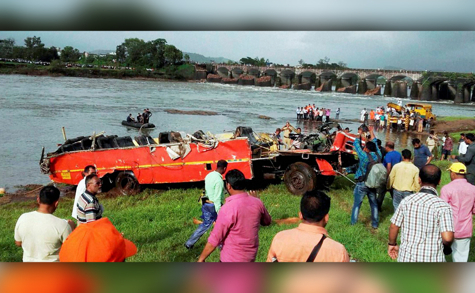 In a tragic incident on 2 August, two State Transport buses and some other vehicles fell in the Savitri river after a bridge near Mahad caved in due to heavy rainfall. Wreckage of drowned Jaigad-Mumbai buses was located by Navy divers Thursday. PTI
