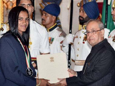 PV Sindhu receiving her Khel Ratna from President Pranab Mukherjee. PTI