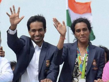 PV Sindhu and Pullela Gopichand take part in a rally after the Rio Olympics 2016. PTI