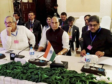 Islamabad: Union Home Minister Rajnath Singh along with the Indian delegation attending the first working session of SAARC Home Ministers' Conference 2016 in Islamabad on Thursday. PTI Photo (PTI8_4_2016_000062B)